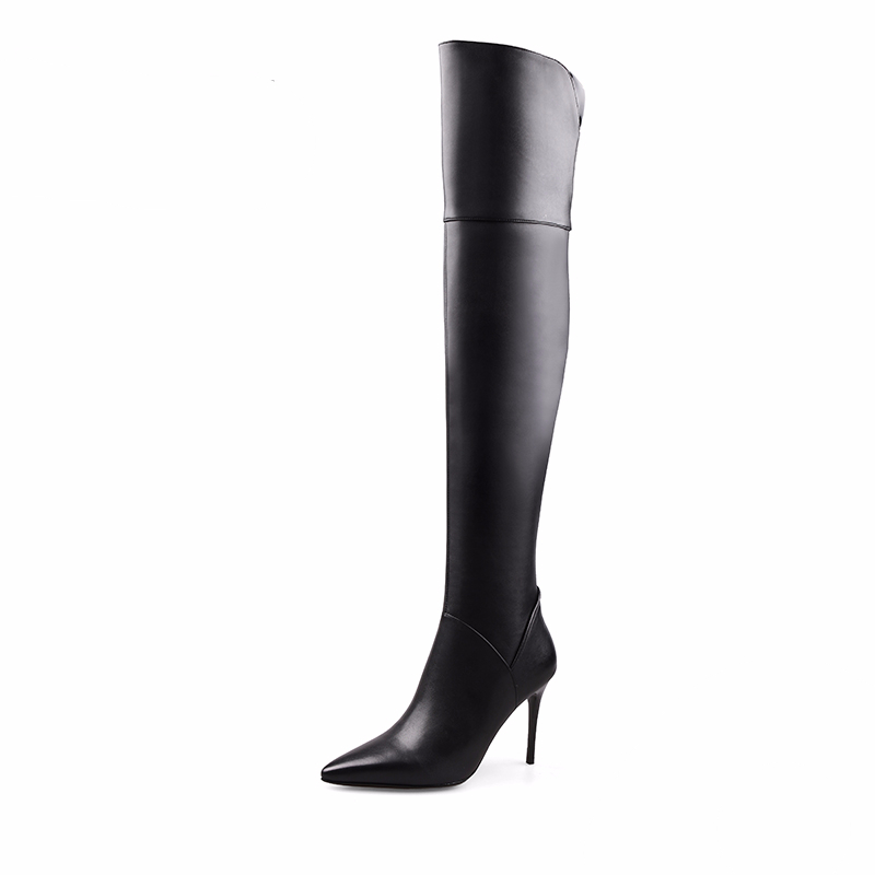 2017 New Fashion Sexy Over The Knee leather Boots Women Ladies Winter Stiletto high heel Shoes Long Boots Thigh High boots