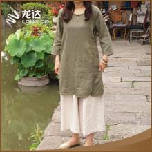 Longda optional color long sleeve girls elegant loose linen dress