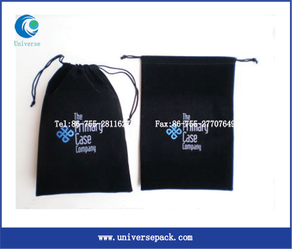 High quality customized drawstring flocking pouch bag wholesale