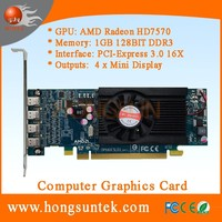 AMD Radeon HD 7570 PCIe 1GB DDR3 Low Profile 4 Mini Display ports Multiscreen graphic card support four monitors