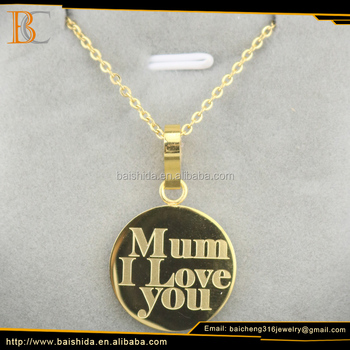Hot Sale Elegant Gold Plated Round Shaped Mother Necklace Jewelry For Mother Day Gift