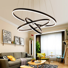 Modern aluminium 40+60+80 acrylic gel black LED 24 inch circle ring pendant