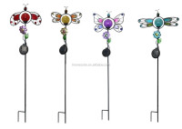 Garden Yard metal butterfly dragonfly ladybug glass crackle ball Solar Light