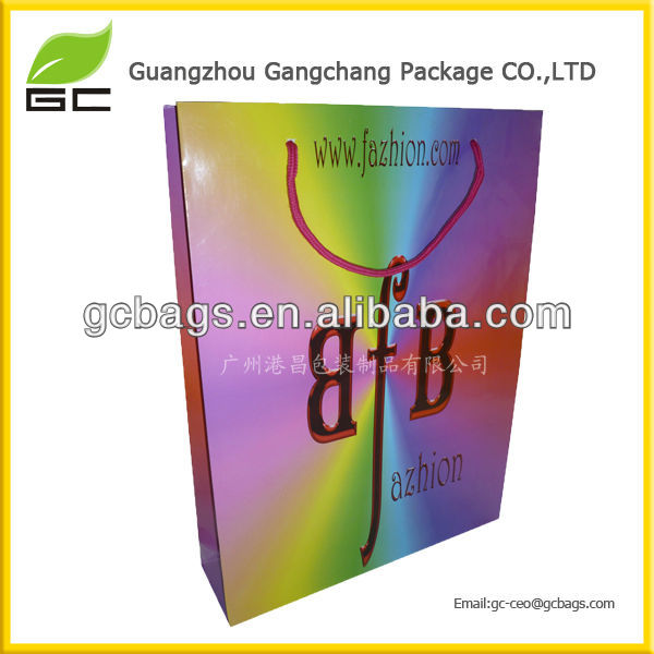 Rainbow Glossy Laminated Paper Shopping Carrier Bags