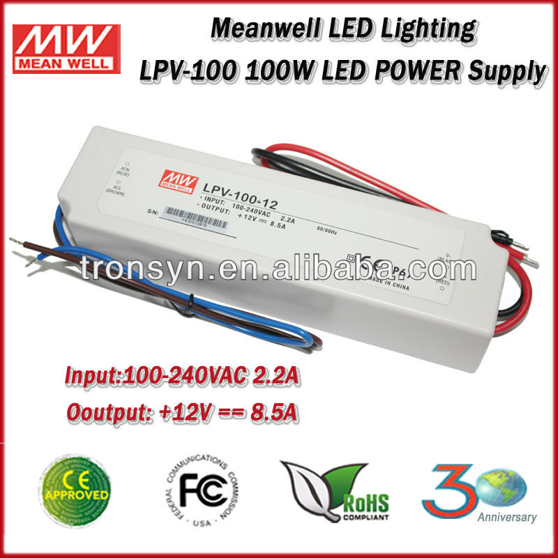 Meanwell LED power supply LPV-100-12 (100W 12V 8.5A) Single Output IP67 Waterproof 12V 100w led driver