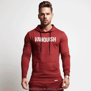 Red Black Cotton Polyester Spandex Fleece Slim Fit Gym Hoodie for Men Tapered Fitness Pullover Hoodie Custom Jacket Wholesale