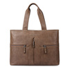 Business hand carrying 100% genuine leather briefcase bags with outside pockets for men