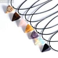 Natural Crystal stone Pendant with black leather necklace Cousin Jewelry