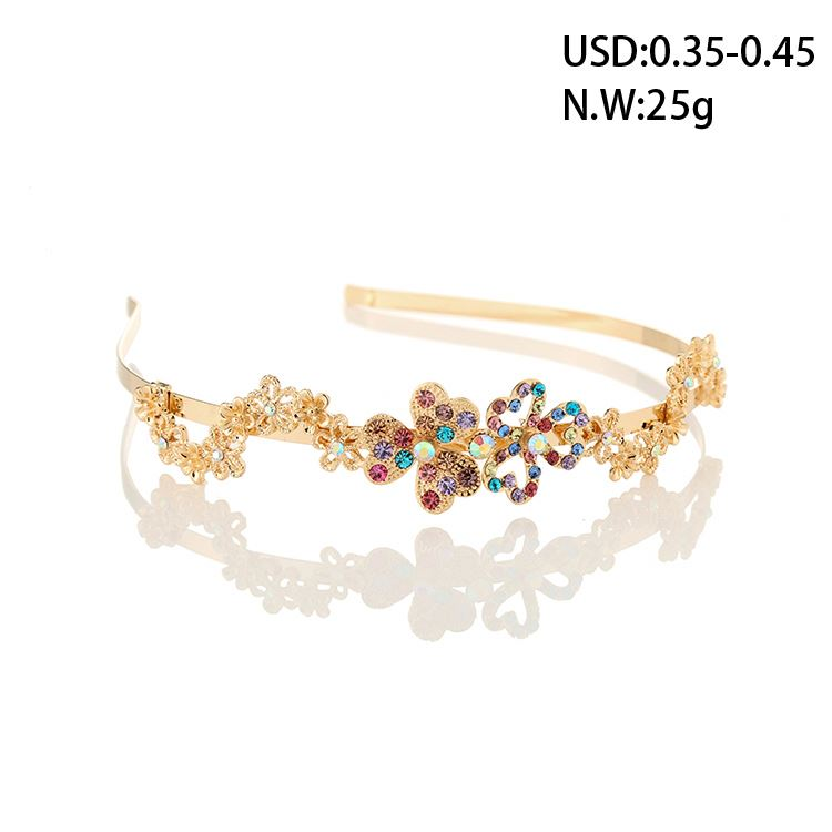 MAYZI brand custom size latest cute golden flower withrhinestone hairband headbands designs hair headbands for girls