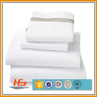 Beautiful 100% organic cotton 300 thread count sateen white bed sheet sets