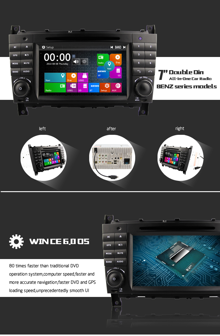 DJ7069 7'' single din Car DVD GPS radio for C-class with GPS 3G WiFi MTK3360 platform 800MHZ CPU etc.features