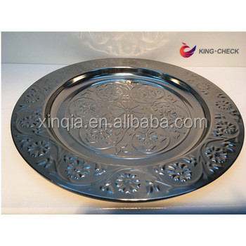 Bar tools champagne charger plates round shape silver tone
