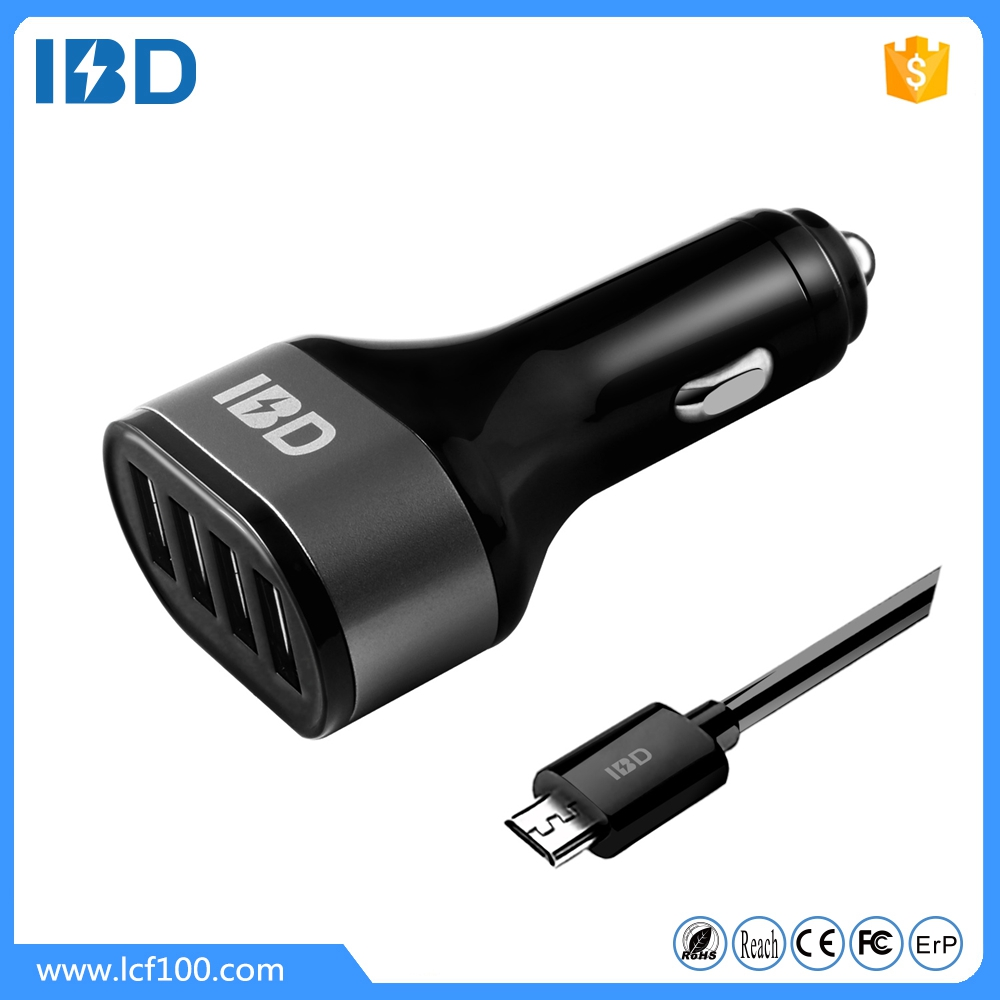 Shenzhen mobile phone accessories multi port 4 usb car charger, 5V/2.4A wholesale car usb charger adapter for mobile phone