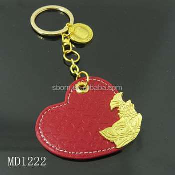 Red heart shape new design metal leather keychain for bag charms