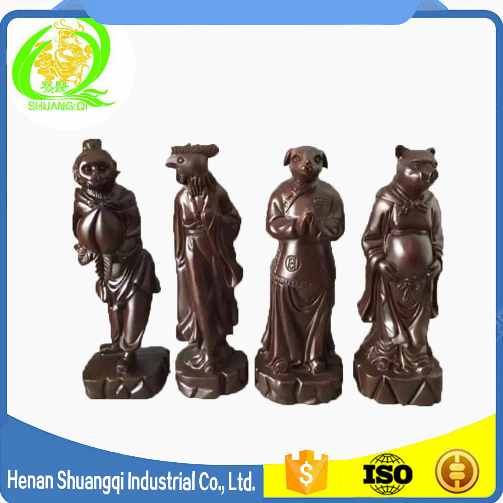 Chinese design gifts decorations twelve Chinese zodiac animal signs wood statues animal