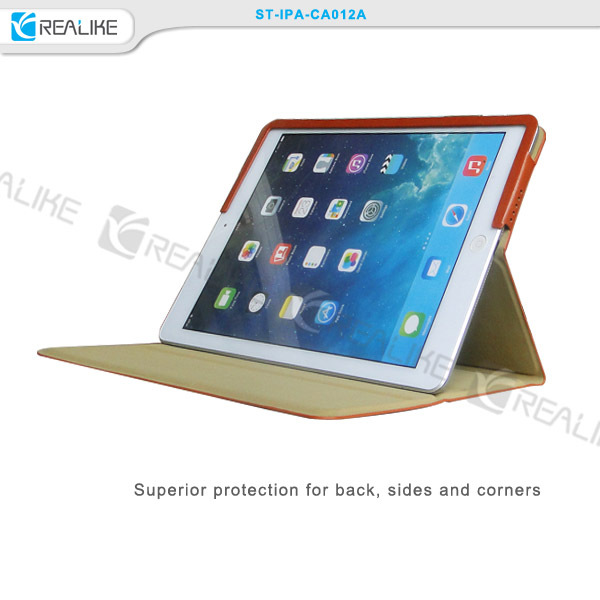 2016 new fashion embossing commercial PU leather smart back cover case for Ipad Air