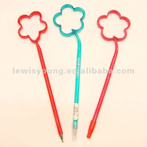 Flower shaped plastic pens for promotion