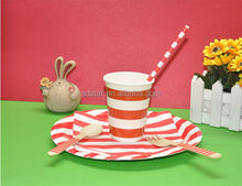 outdoor or party use tableware suit including paper cup paper plate striped paper straws with wooden fork and wooden spoon