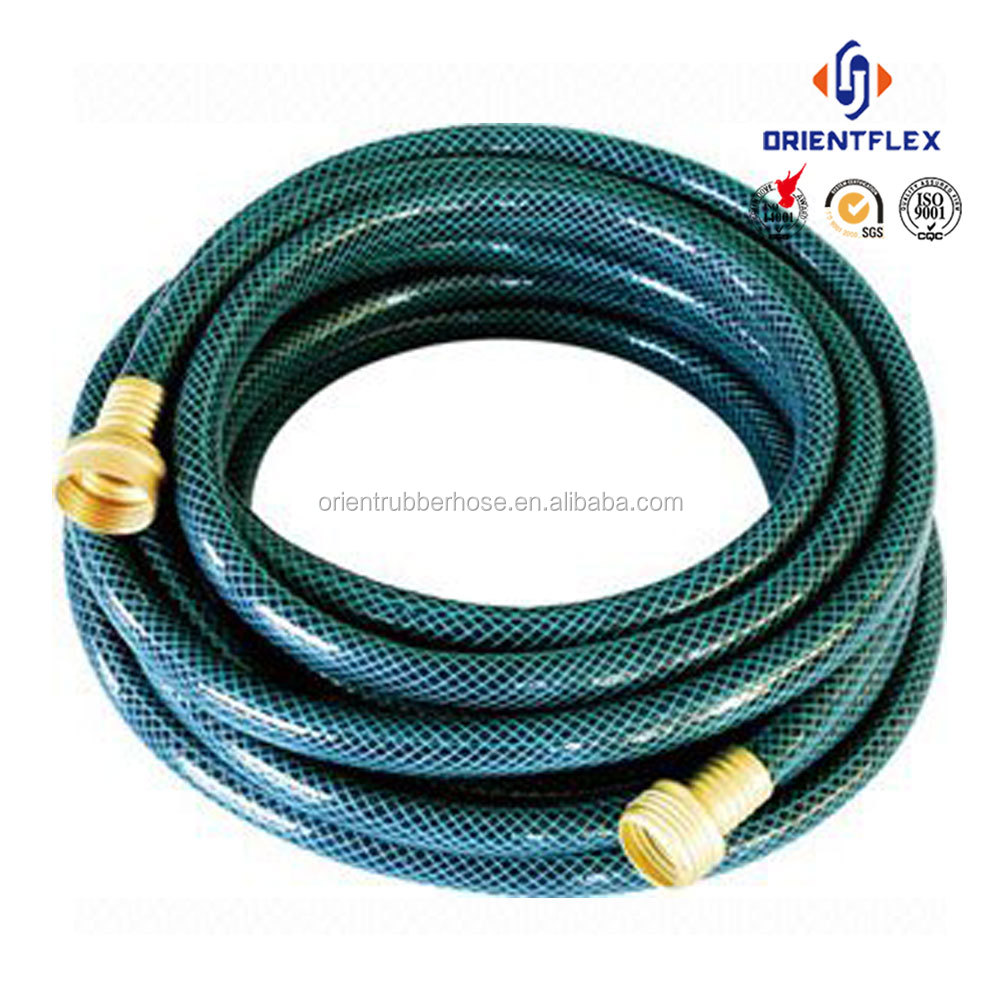 Clear wall flexible garden hose with nozzle