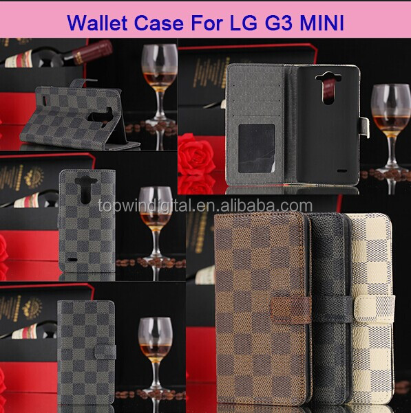 2014 High Quantity Flip Leather Case Cover For LG G3 Mini With Card Holder