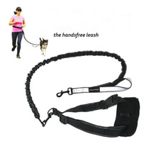 Hands Free Walking and Running Dog Leash with Reflective Handle Loop and Pouch