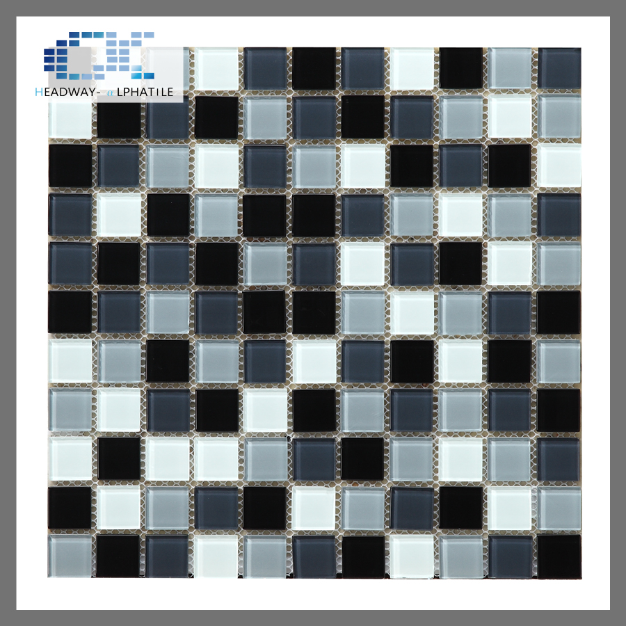 4mm glossy white black glass wall mosaic swimming pool tile