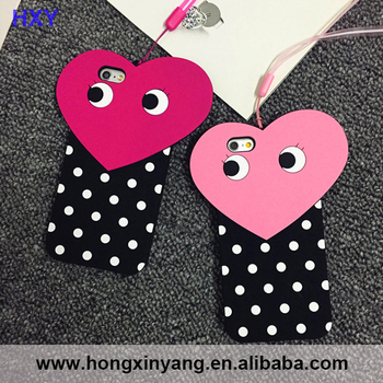 Fashion Style Big Heart with Eyes Plus Mini Dots Soft Silicone Case Cover