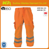 adult High visibility fluo orange reflective working trousers men pants cotton fabric workwear clothing