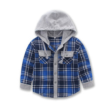 Flannel baby's hoodies casual shirt