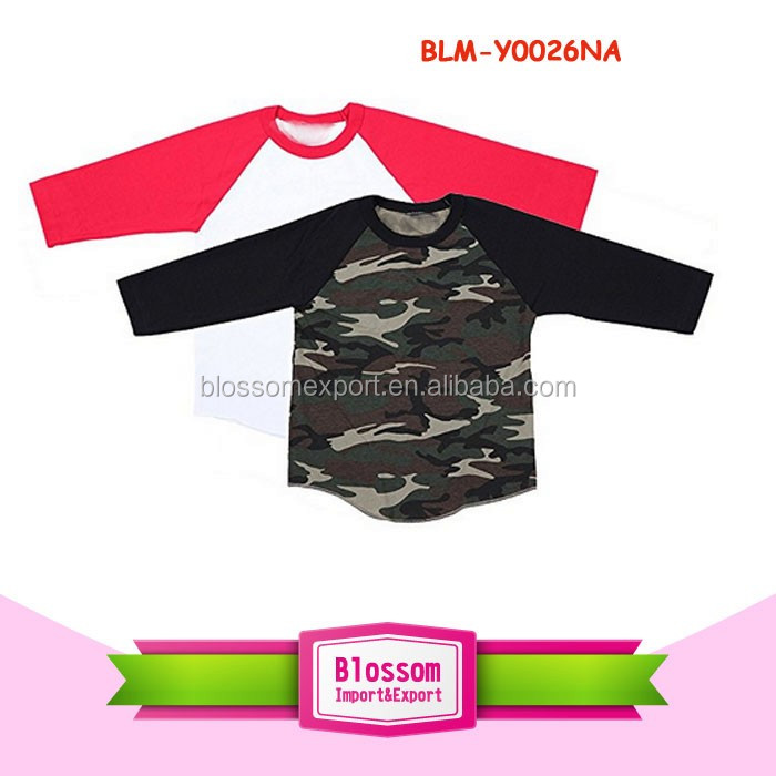 High quality baby raglan monogram blank Baseball shirt pant cotton boutique 3/4 raglan curve hem unisex kid tee shirts wholesale