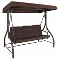 Brown Converting Outdoor Swing Canopy Hammock Seats 3 Patio Deck Canopy Swing Bed