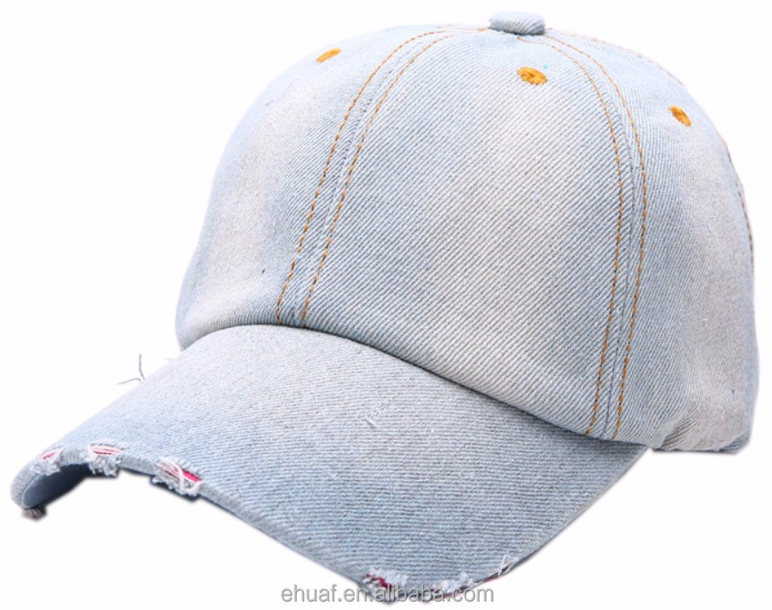 Light blue cotton denim fashion vintage distressed retro hat <strong>cap</strong>