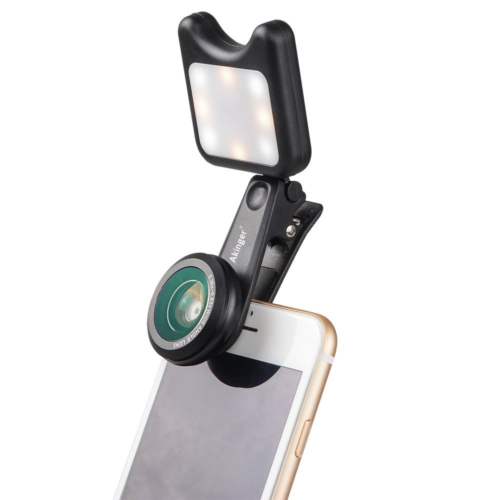 AKinger Cell Phone Lens Portable Selfie Led Light with 9 Model +15X Macro Lens + 0.36X Wide Angle Lens for all phone
