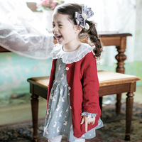 YDA3324sweet girl dress autumn cartoon printed cotton princess girl dress