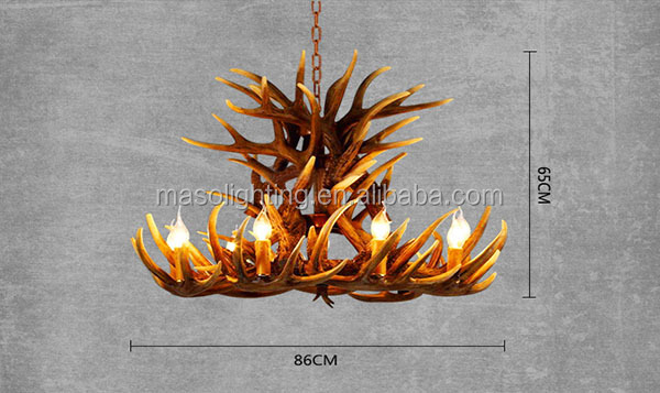 Maso Antler Restaurant Chandelier E14 Candle MS-P2005-9+9 Project Retro Style Hotel Decorative Store Hanging Light
