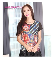 transfer printing ladies new stylish casual tops with lace latest design 2015 summer