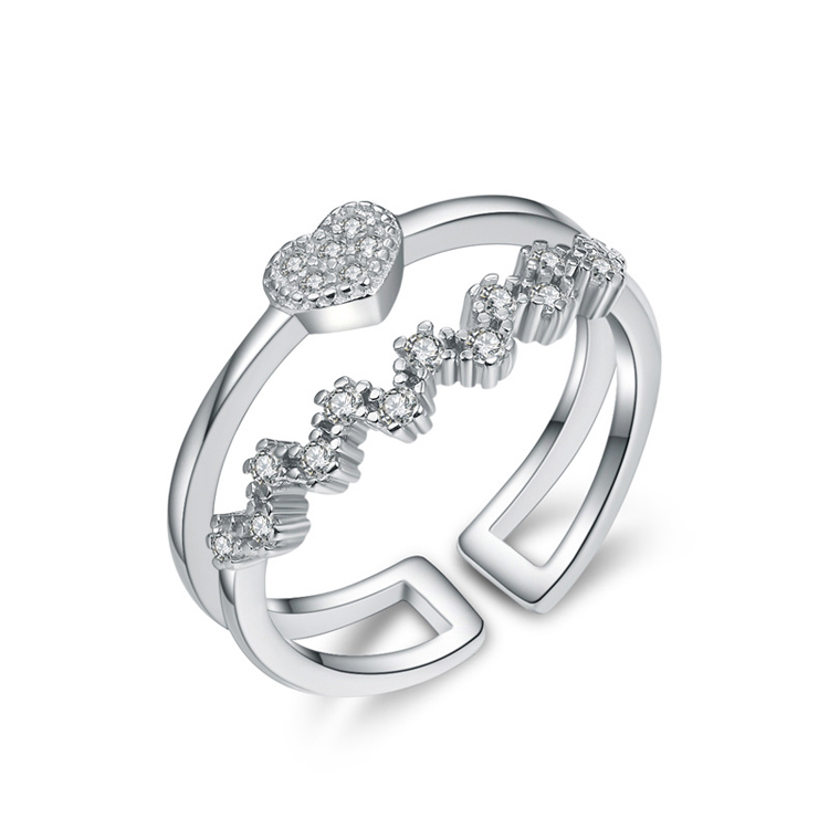 High Quality Double Layer Mirco Pave Heart Flower Personalized Open <strong>Ring</strong>