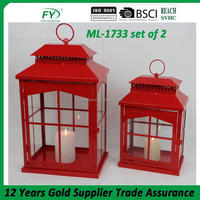 New design moroccan wedding and birthday bar decorative metal candle lantern ML-1733 set of 2