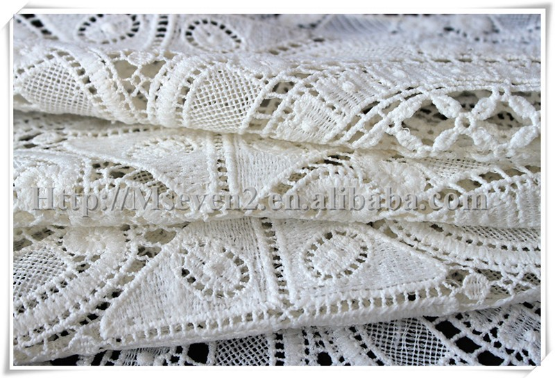 Wholesale 2016 NEW white poly/cotton guipure lace fabric for dress