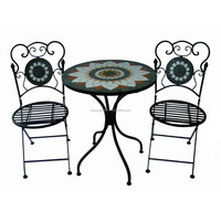 3 pc mosaic outdoor garden wrought iron bistro set bistro table and chair set