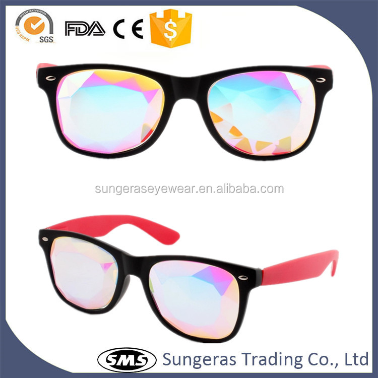 Sungeras latest fashion Creative Custom High Quality goggle sunglasses crystal kaleidoscope lens clubmaster crazy party glasses