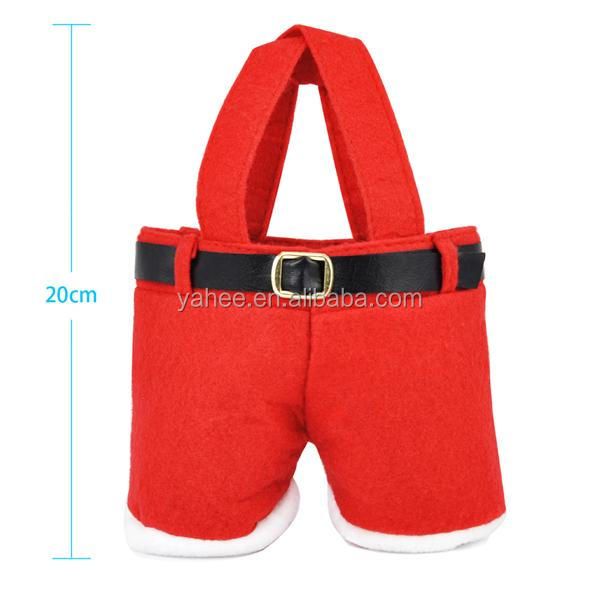Christmas Red Cute Santa Pants Treat Gift Candy Bag Sweet Pouch