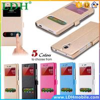 mi4 m4 Fashion Silk Line Leather Flip Case For Xiaomi mi4 m4 Smart Pure Double Window View Stand Cover Mobile Phone Sleeve