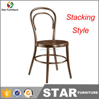 Latest metal with wood grain stacking bistro chair