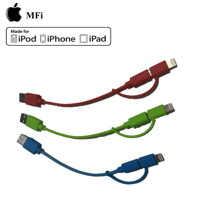 2 to 1 short 10cm mfi 8pin micro usb cable for i6ps