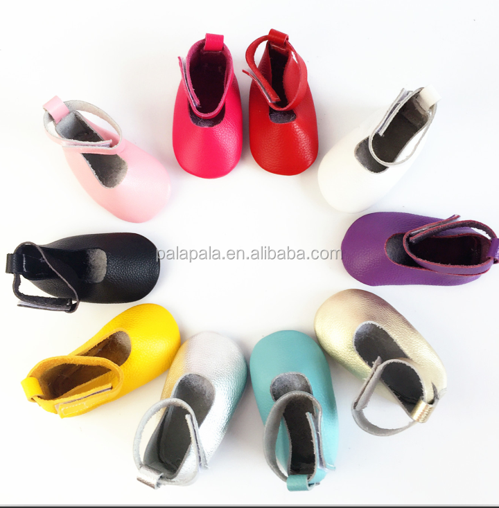 2016 Hot Sale High Quality Genuine Leather Solid Baby Moccasins Mary Janes Ballet Shoes First Walker Toddler Soft dress Shoes