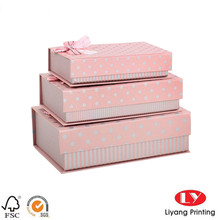 fancy rectangle pink handmade gift pacakging box in book shape