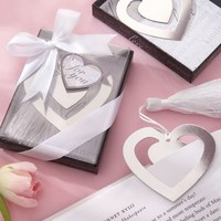 Wholesale Sliver Duble Heart Shape Bookmark