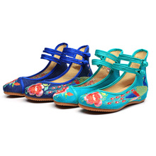 Vintage Embroidery women flat shoes Old Beijing Mary Jane Ballet Flat Shoes Peacock Casual Cloth Shoes Woman Plus Size 43