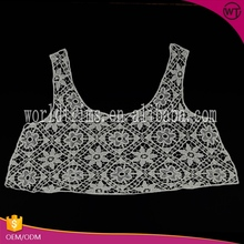Guangzhou factory price ecru embroidery lace neck designs for ladies suit